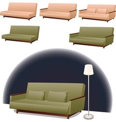 Sofa green and pink vector image vector image