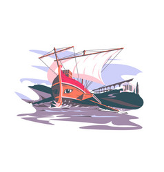 ancient rome boat composition vector image