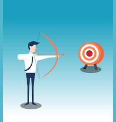 Archery shoots arows for successful goal vector