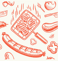 barbecue grill seamless pattern in vintage style vector image