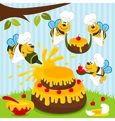 Bees chefs prepare cake vector