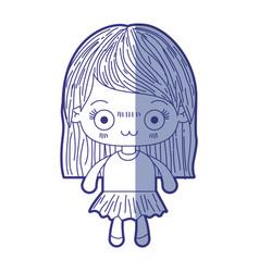 Blue shading silhouette of kawaii cute little girl vector