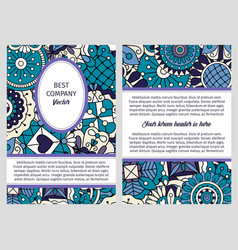 brochure in blue and lilac colors vector image