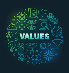 business values round colored linear vector image