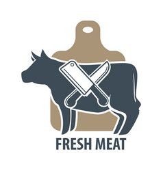 Butcher template logotype sign with cow and two vector