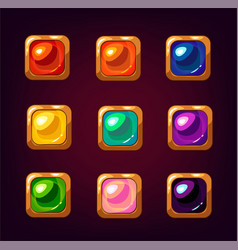 cartoon colorful square gemstones vector image