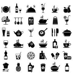 Cooking kitchen tools food and drinks icons vector