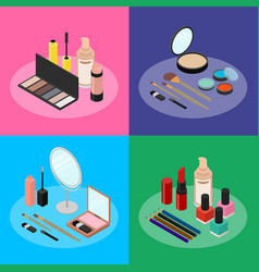 Cosmetic products banner card set isometric view vector