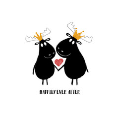 Couple of moose in crowns vector