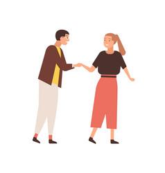 Couple saying goodbye flat vector