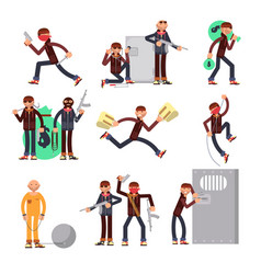 Criminal offender in different actions set vector