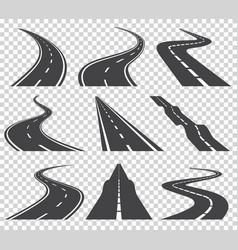 Curved roads set asphalt road or way and vector