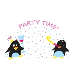 Cute holiday party penguins vector image