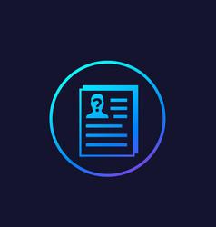Cv resume hr concept icon vector