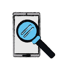 drawing smartphone search wireless technology vector image