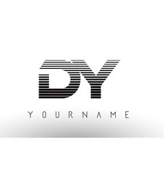 Dy d y black and white horizontal stripes letter vector