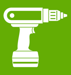 Electric screwdriver drill icon green vector