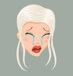 Emoticon blonde cry vector