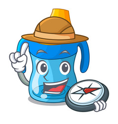 Explorer cartoon baby drinking from training cup vector