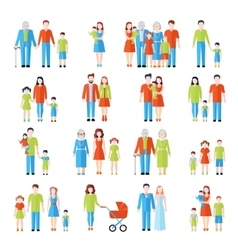 Family flat icons set vector image