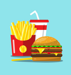 fast food cartoon french fries hamburger and soda vector image