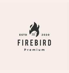 fire flame bird hipster vintage logo icon vector image