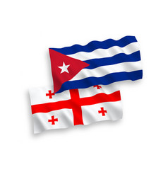 Flags cuba and georgia on a white background vector