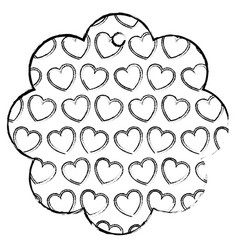 flower frame with hearts pattern background vector image