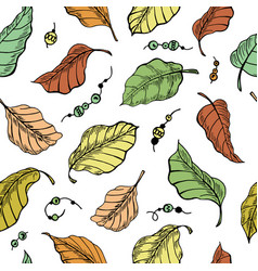 foliage seamless plant pattern background vector image