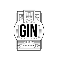 gin vintage label design dry strong drink vector image