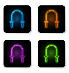 Glowing neon jump rope icon isolated on white vector