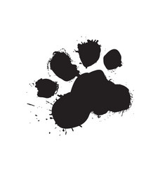 Grunge dog foot print black paw isolated on white vector