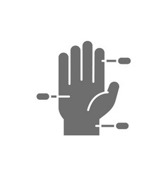 Hand acupuncture grey icon isolated on white vector