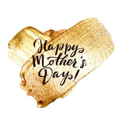 happy mothers day gold stroke greeting card vector image