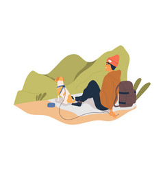 hiker resting with dog and enjoying nature view vector image