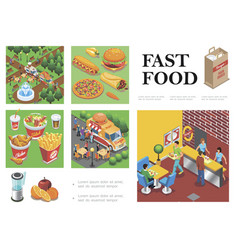 isometric fast food composition vector image