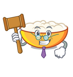 Judge cottage cheese mascot cartoon vector