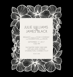 Laser cut wedding invitation with orchid flowers vector