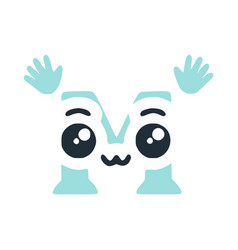 Letter m cute kawaii character with hands funny vector