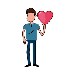 man with nice heart in his hand and cute wear vector image