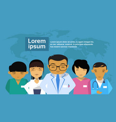 medical doctors group asian team hospital world vector image