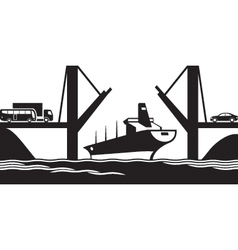 Merchant ship passes under a drawbridge vector image