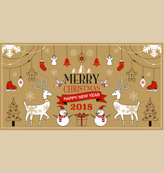 Merry christmas background set simple modern vector