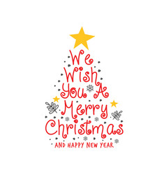 merry christmas doodle rustic greeting white red vector image