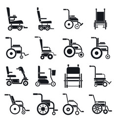 Mobility wheelchair icons set simple style vector
