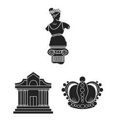 Museum and gallery black icons in set collection vector