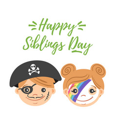National siblings day greeting card vector