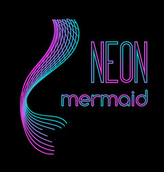 Neon mermaid tail made of parallel lines vector