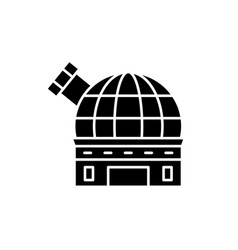 observatory black icon sign on isolated vector image