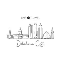 one single line drawing oklahoma city skyline vector image